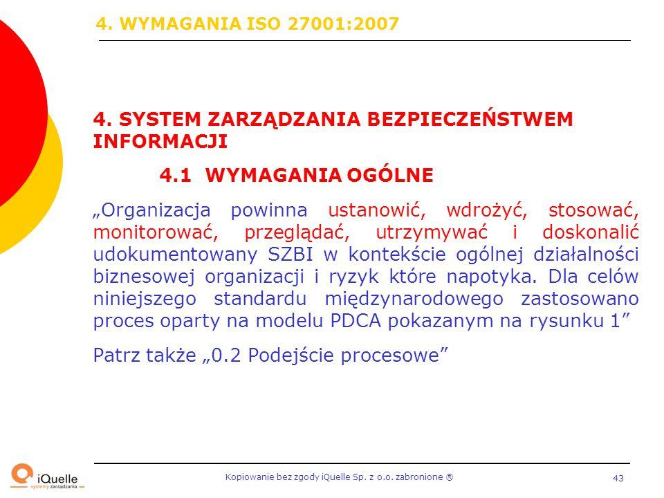 4. WYMAGANIA ISO 27001:2007 4. SYSTEM ZARZĄDZANIA BEZPIECZEŃSTWEM INFORMACJI. 4.1 WYMAGANIA OGÓLNE.