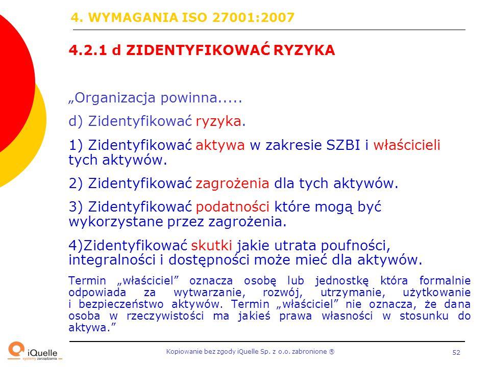 """4.2.1 d ZIDENTYFIKOWAĆ RYZYKA """"Organizacja powinna....."""