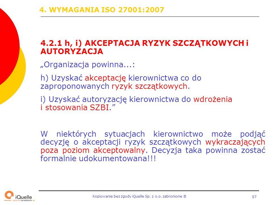 """4. WYMAGANIA ISO 27001:2007 4.2.1 h, i) AKCEPTACJA RYZYK SZCZĄTKOWYCH i AUTORYZACJA. """"Organizacja powinna...:"""