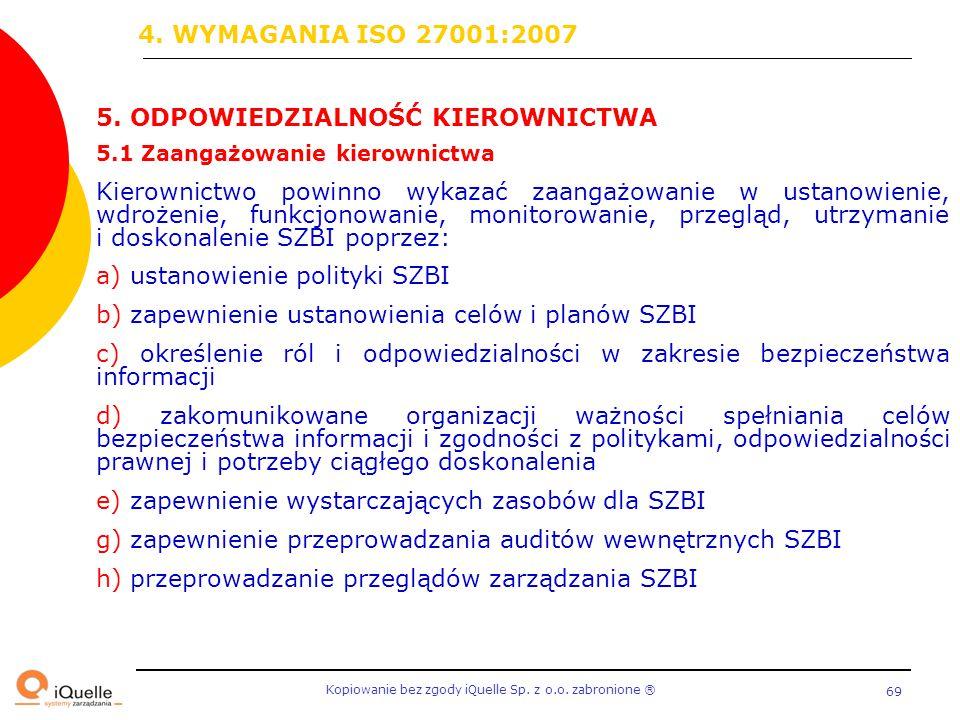4. WYMAGANIA ISO 27001:2007 5. ODPOWIEDZIALNOŚĆ KIEROWNICTWA