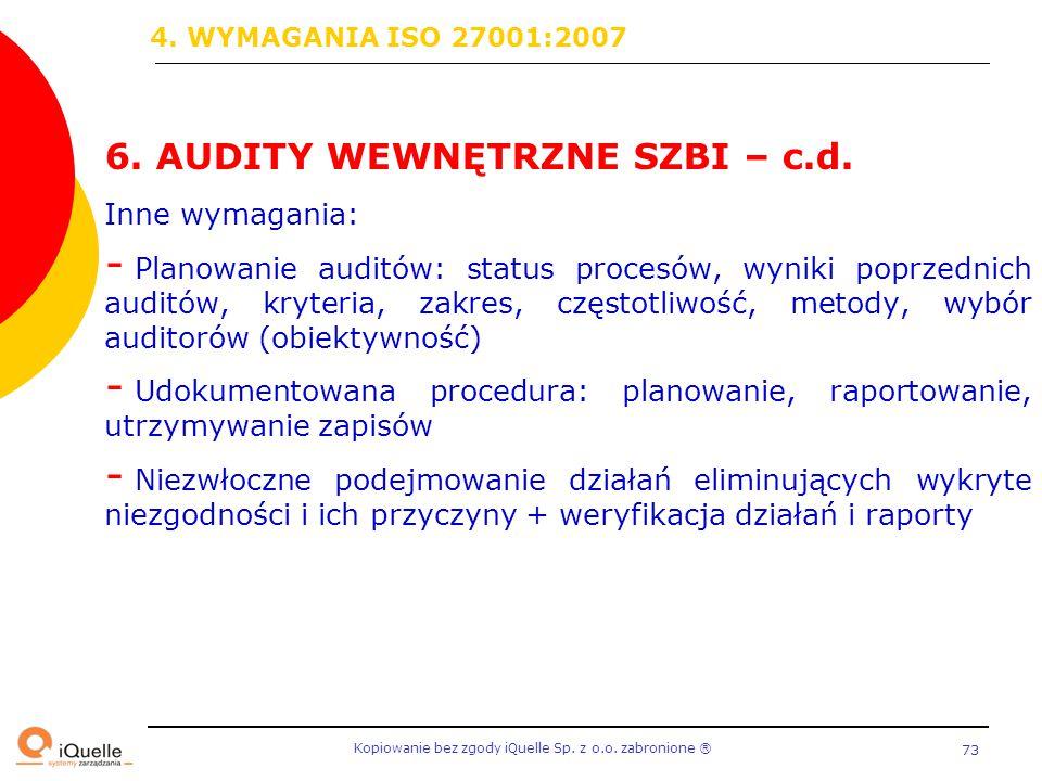 6. AUDITY WEWNĘTRZNE SZBI – c.d.