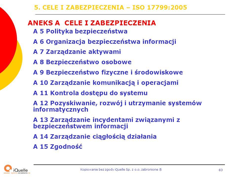 5. CELE I ZABEZPIECZENIA – ISO 17799:2005