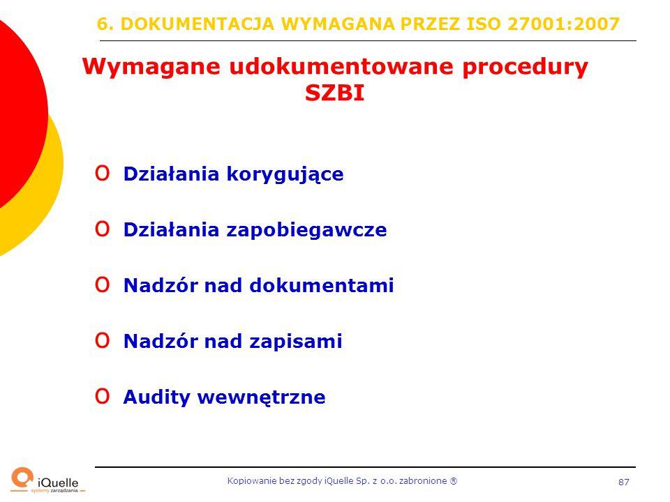Wymagane udokumentowane procedury SZBI