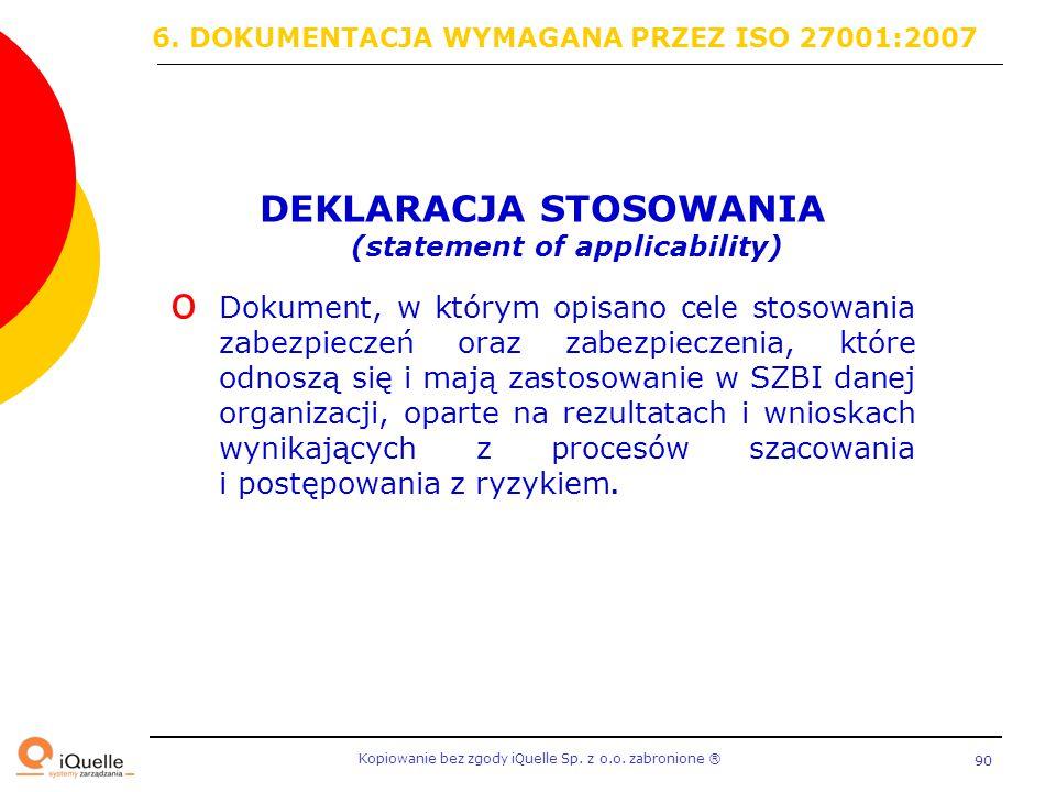 DEKLARACJA STOSOWANIA (statement of applicability)