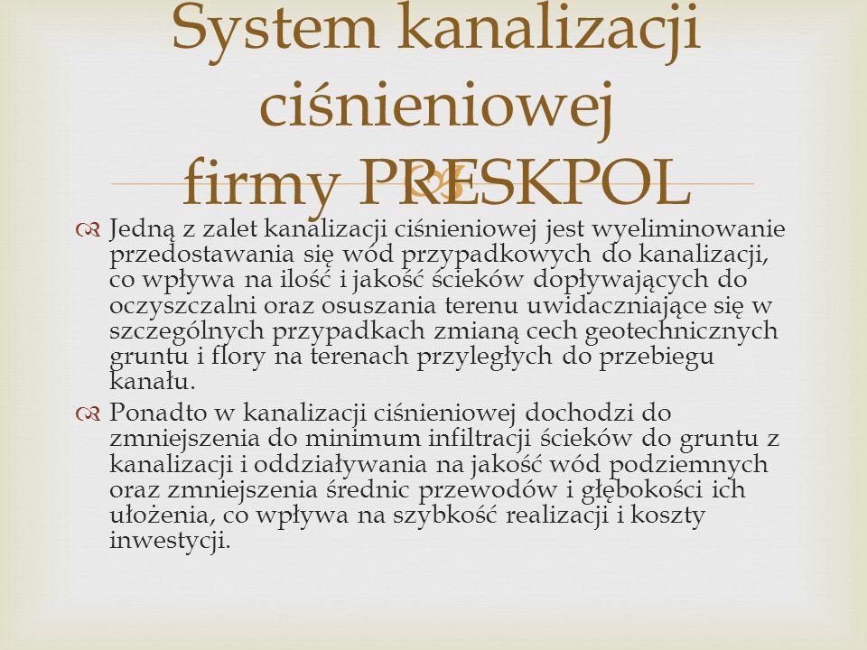 System kanalizacji ciśnieniowej firmy PRESKPOL