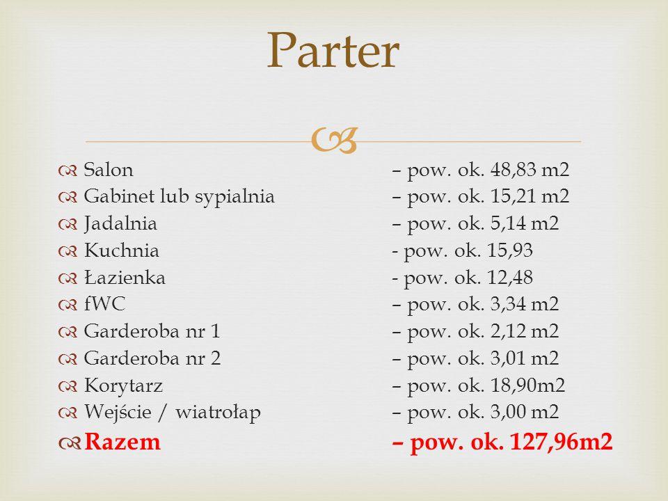 Parter Razem – pow. ok. 127,96m2 Salon – pow. ok. 48,83 m2