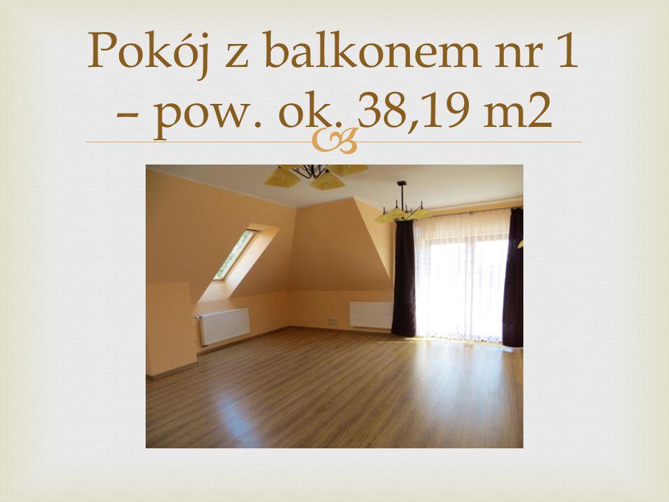 Pokój z balkonem nr 1 – pow. ok. 38,19 m2