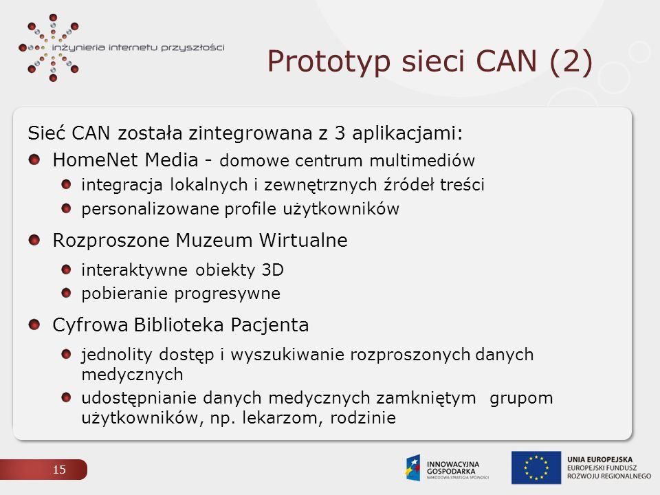 Prototyp sieci CAN (2) Sieć CAN została zintegrowana z 3 aplikacjami: