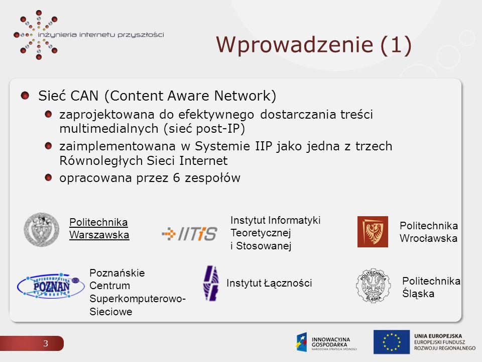 Wprowadzenie (1) Sieć CAN (Content Aware Network)