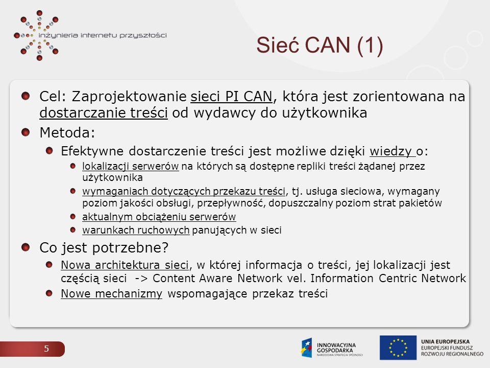 Sieć CAN (1) Cel: Zaprojektowanie sieci PI CAN, która jest zorientowana na dostarczanie treści od wydawcy do użytkownika.