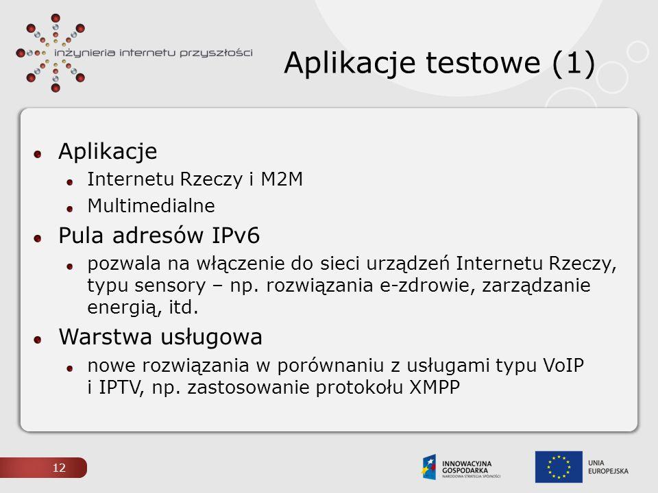 Aplikacje testowe (1) Aplikacje Pula adresów IPv6 Warstwa usługowa