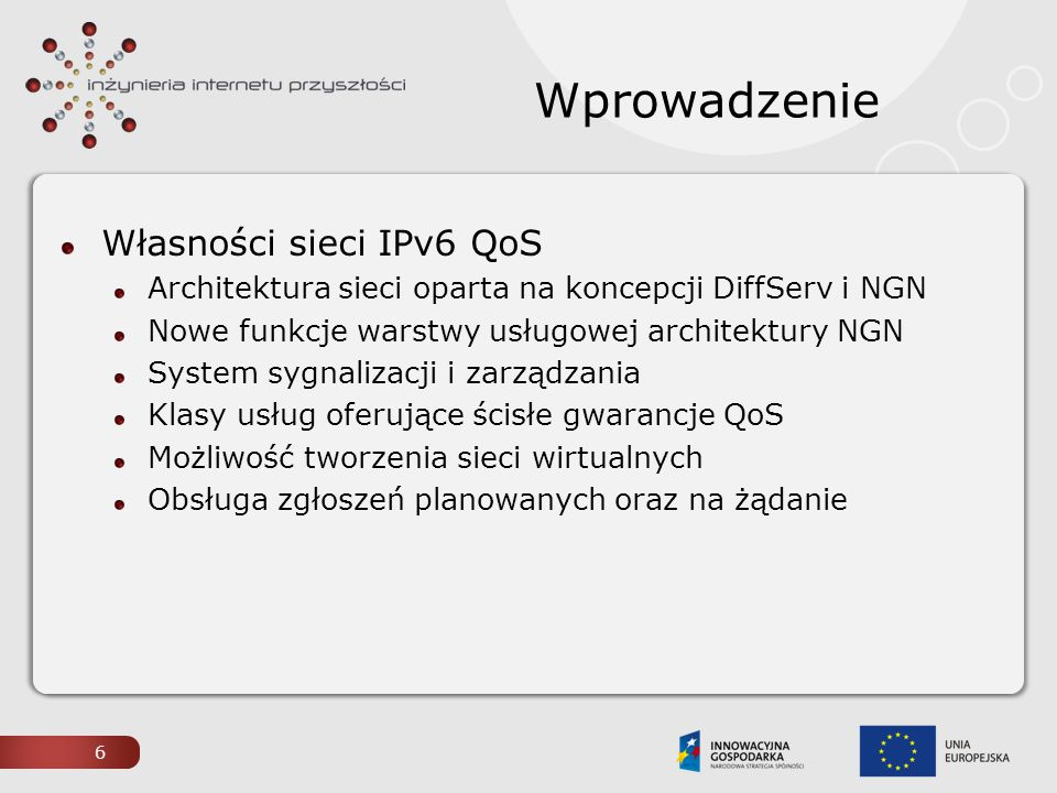 Wprowadzenie Własności sieci IPv6 QoS