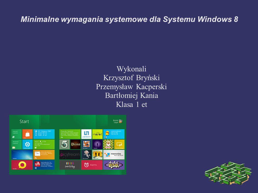 Minimalne wymagania systemowe dla Systemu Windows 8