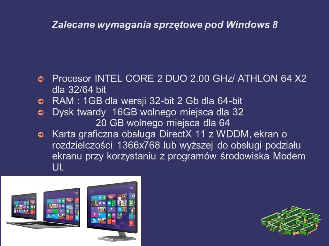 Zalecane wymagania sprzętowe pod Windows 8
