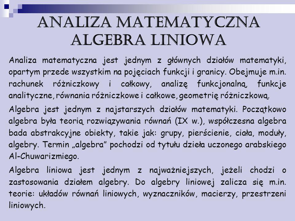 ANALIZA MATEMATYCZNA algebra liniowa