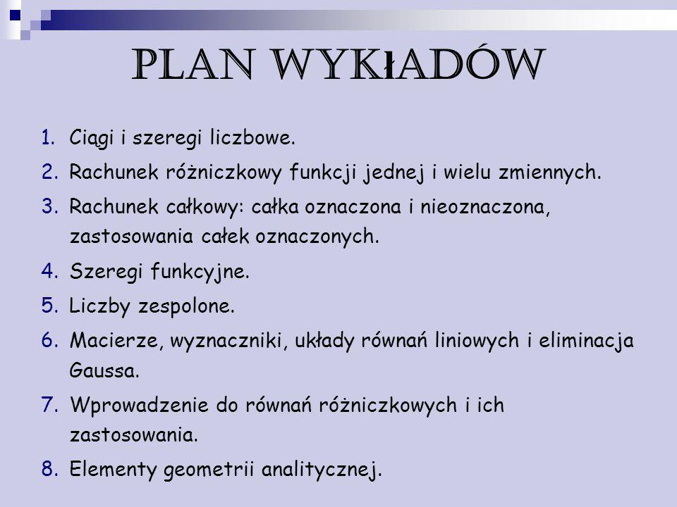 Plan wykładów Ciągi i szeregi liczbowe.