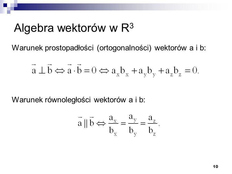 Algebra wektorów w R3 Warunek prostopadłości (ortogonalności) wektorów a i b: Warunek równoległości wektorów a i b: