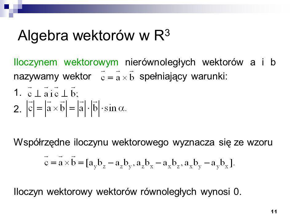 Algebra wektorów w R3 Iloczynem wektorowym nierównoległych wektorów a i b nazywamy wektor spełniający warunki: