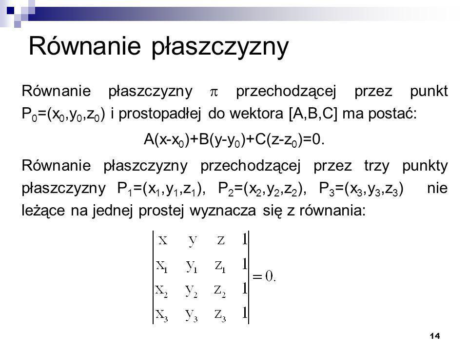 A(x-x0)+B(y-y0)+C(z-z0)=0.