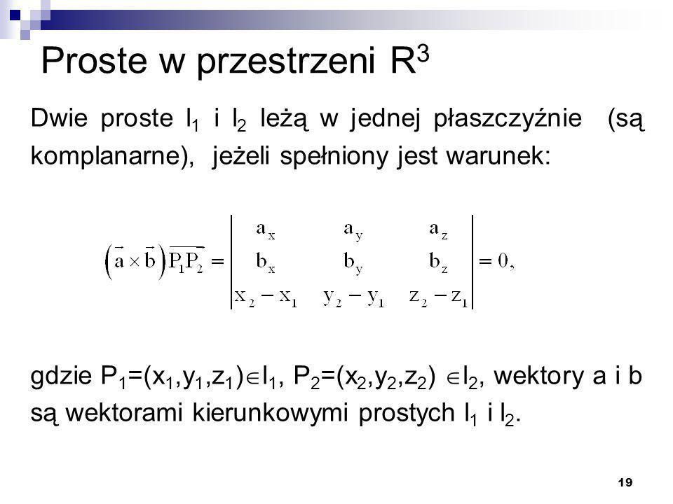Proste w przestrzeni R3 Dwie proste l1 i l2 leżą w jednej płaszczyźnie (są komplanarne), jeżeli spełniony jest warunek: