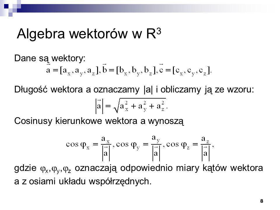 Algebra wektorów w R3 Dane są wektory: