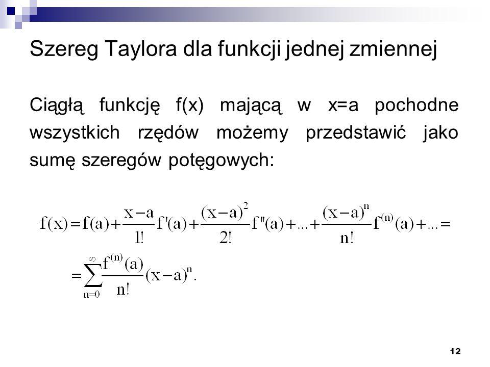 Szereg Taylora dla funkcji jednej zmiennej