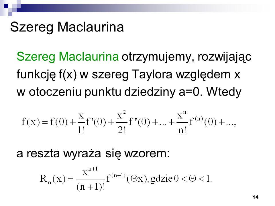 Szereg Maclaurina Szereg Maclaurina otrzymujemy, rozwijając funkcję f(x) w szereg Taylora względem x w otoczeniu punktu dziedziny a=0. Wtedy.