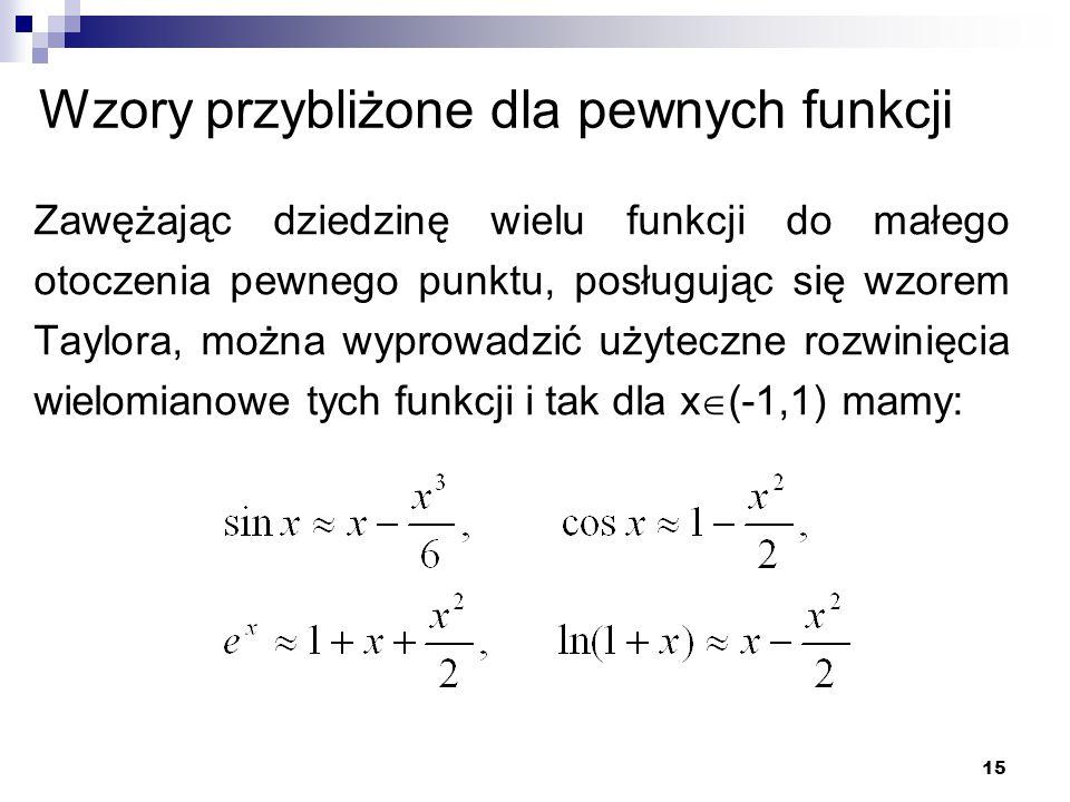 Wzory przybliżone dla pewnych funkcji