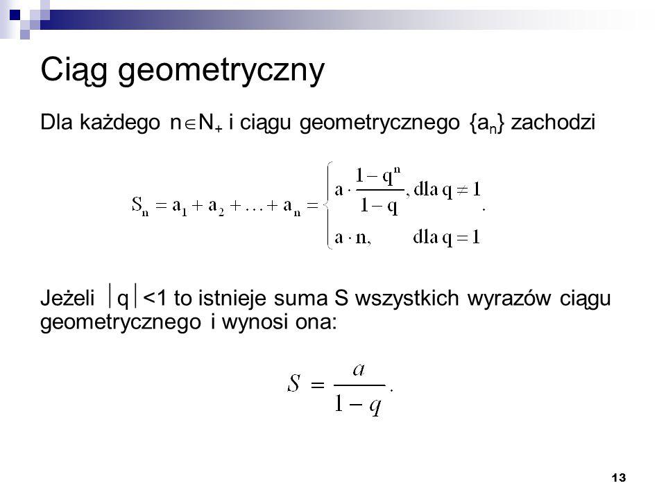 Ciąg geometryczny Dla każdego nN+ i ciągu geometrycznego {an} zachodzi.