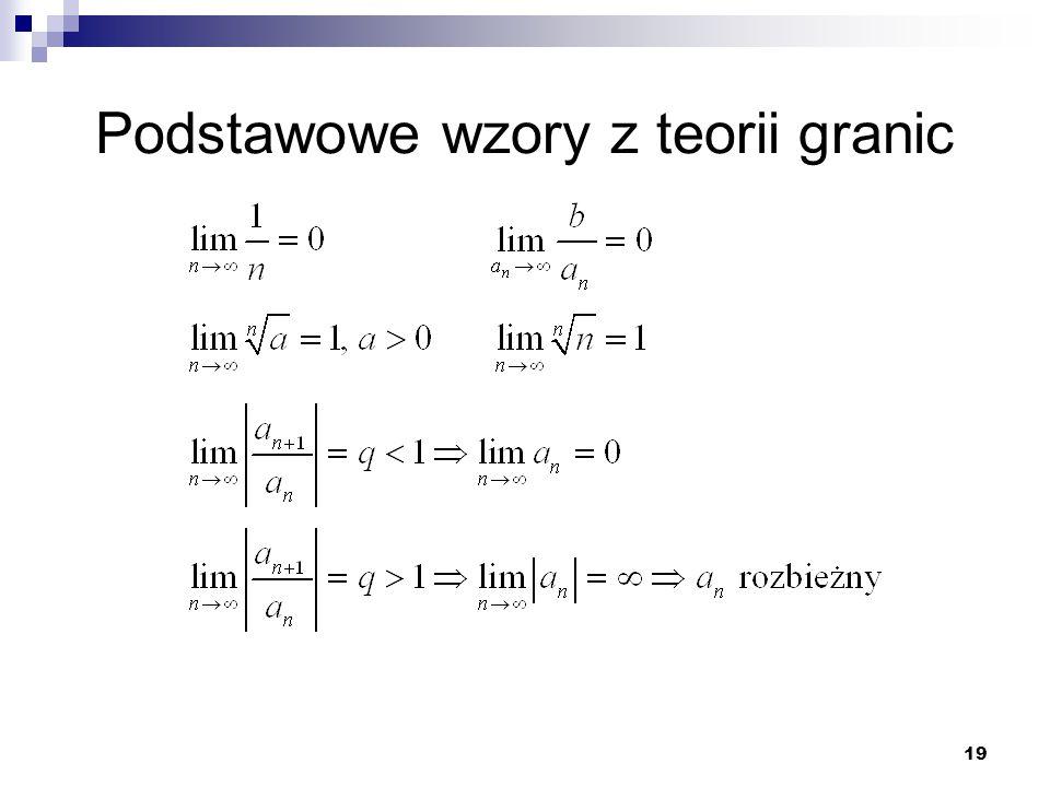 Podstawowe wzory z teorii granic