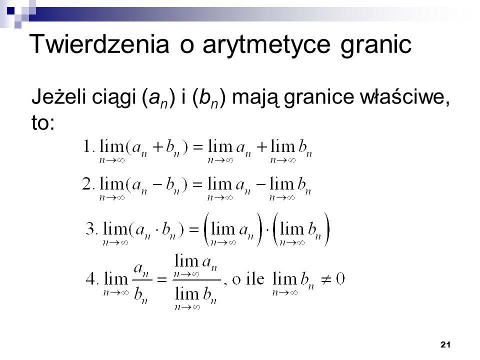 Twierdzenia o arytmetyce granic