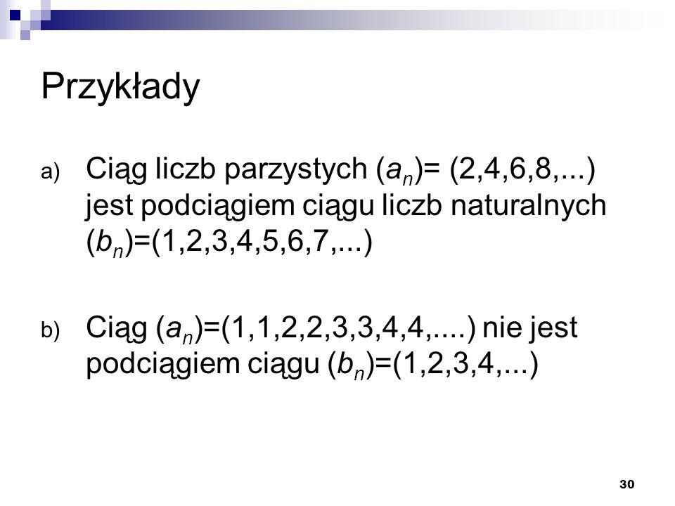 Przykłady Ciąg liczb parzystych (an)= (2,4,6,8,...) jest podciągiem ciągu liczb naturalnych (bn)=(1,2,3,4,5,6,7,...)