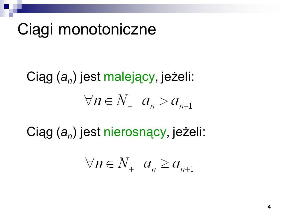 Ciągi monotoniczne Ciąg (an) jest malejący, jeżeli: