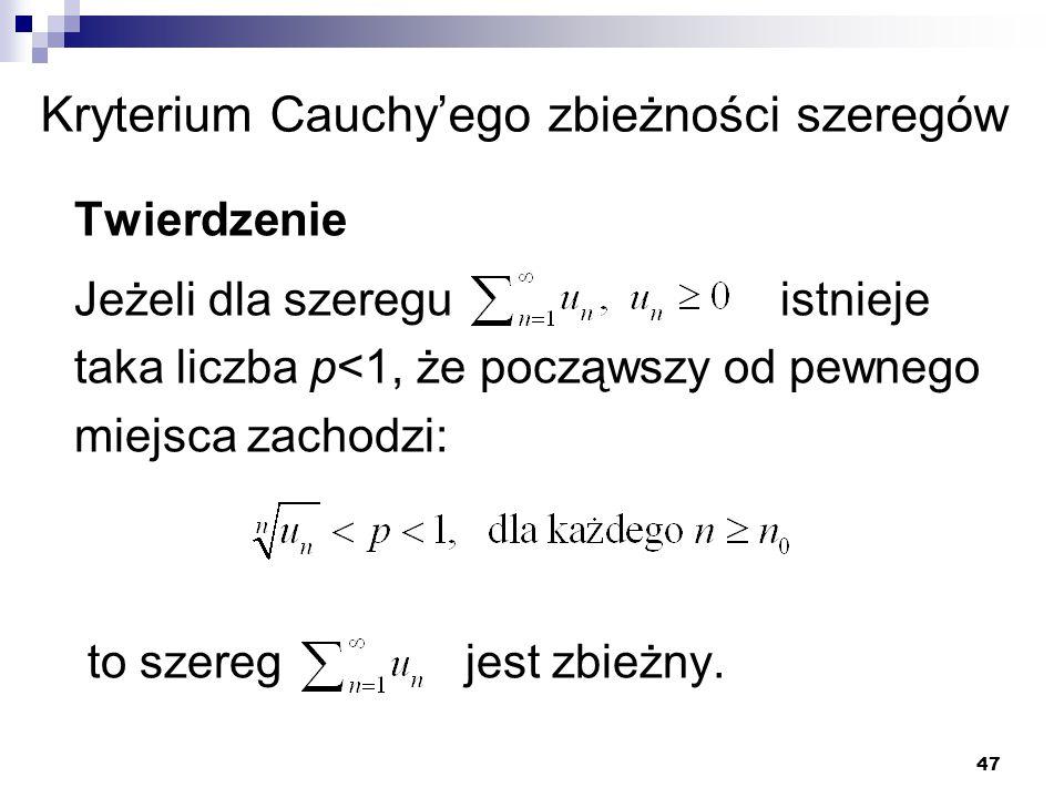 Kryterium Cauchy'ego zbieżności szeregów