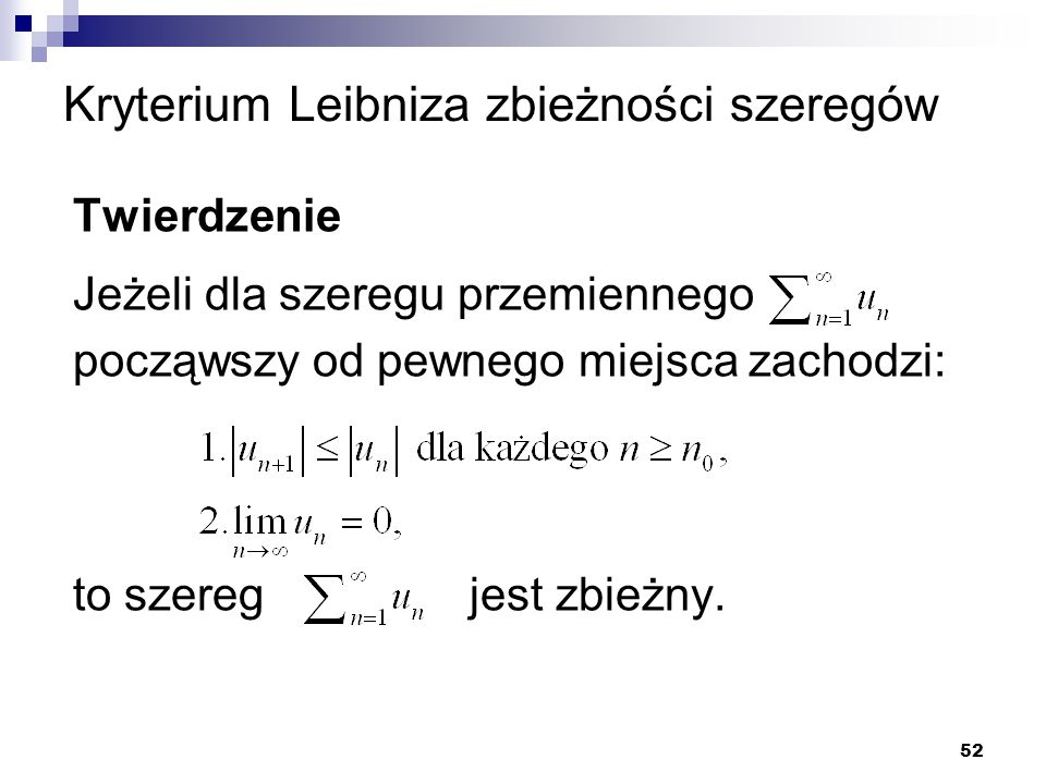Kryterium Leibniza zbieżności szeregów