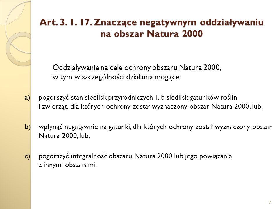 Art. 3. 1. 17. Znaczące negatywnym oddziaływaniu na obszar Natura 2000