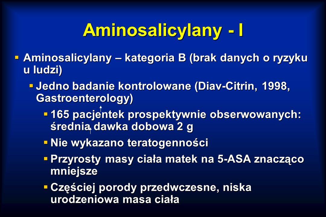 Aminosalicylany - I Aminosalicylany – kategoria B (brak danych o ryzyku u ludzi) Jedno badanie kontrolowane (Diav-Citrin, 1998, Gastroenterology)