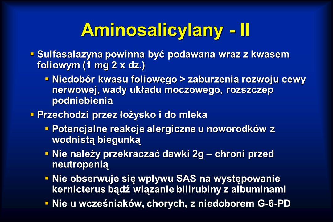 Aminosalicylany - II Sulfasalazyna powinna być podawana wraz z kwasem foliowym (1 mg 2 x dz.)