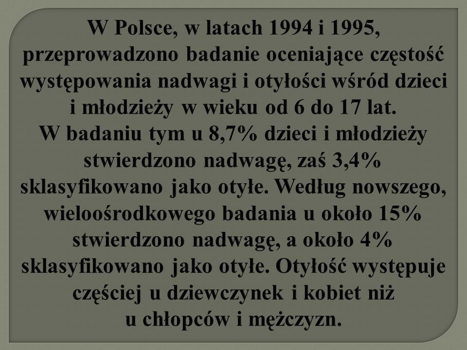 W Polsce, w latach 1994 i 1995, przeprowadzono badanie oceniające częstość występowania nadwagi i otyłości wśród dzieci i młodzieży w wieku od 6 do 17 lat.