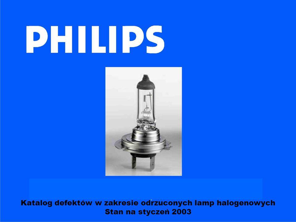Katalog defektów w zakresie odrzuconych lamp halogenowych