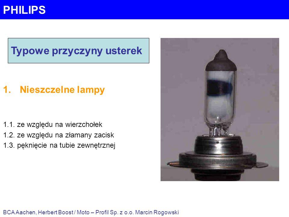 PHILIPS Typowe przyczyny usterek Nieszczelne lampy