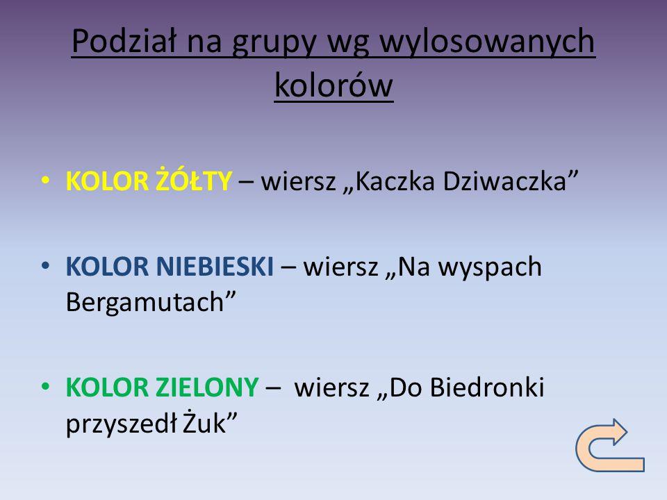 Podział na grupy wg wylosowanych kolorów