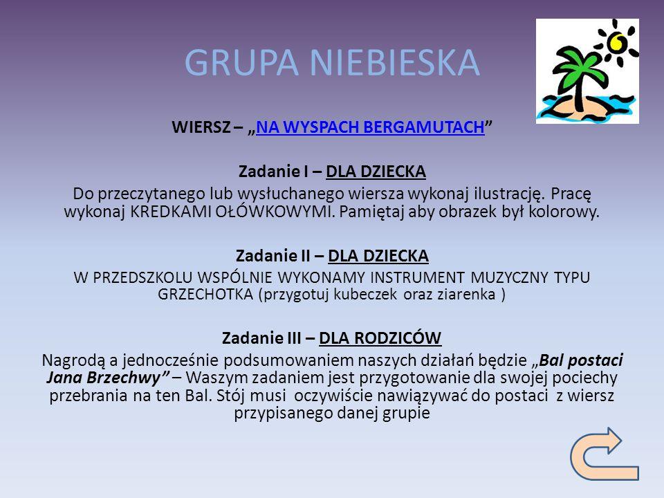 """GRUPA NIEBIESKA WIERSZ – """"NA WYSPACH BERGAMUTACH"""