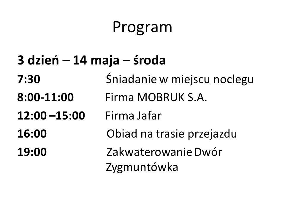 Program 3 dzień – 14 maja – środa 7:30 Śniadanie w miejscu noclegu