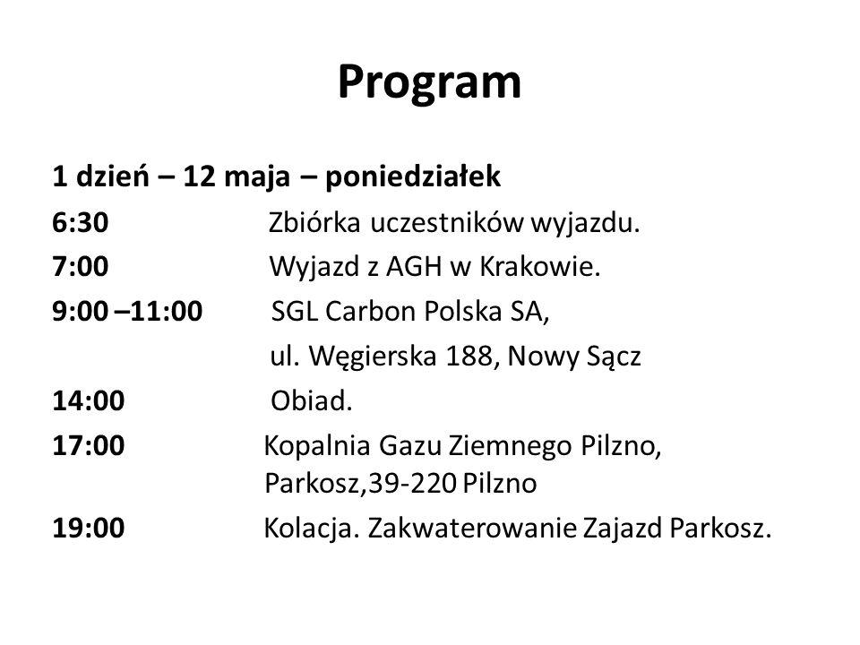 Program 1 dzień – 12 maja – poniedziałek