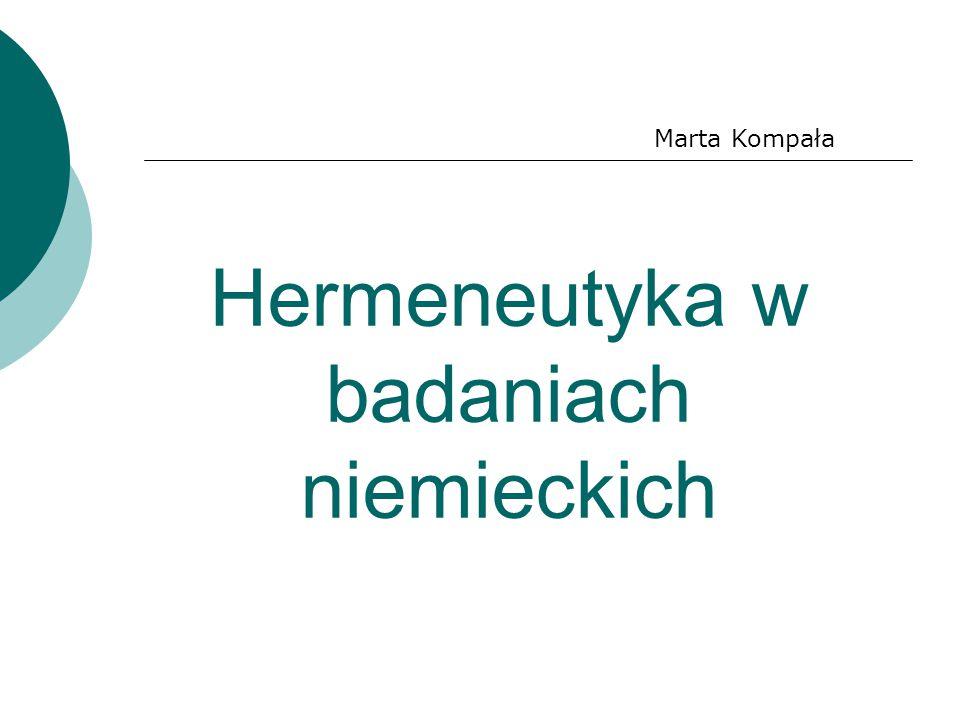 Hermeneutyka w badaniach niemieckich