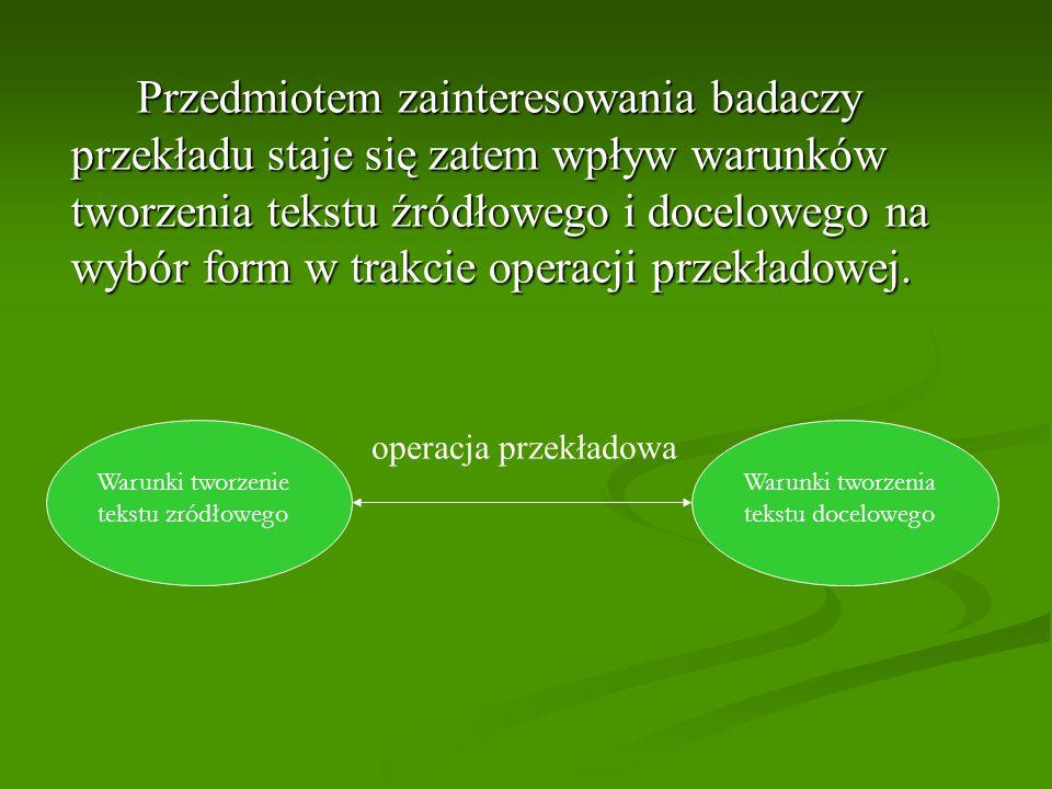 Przedmiotem zainteresowania badaczy przekładu staje się zatem wpływ warunków tworzenia tekstu źródłowego i docelowego na wybór form w trakcie operacji przekładowej.