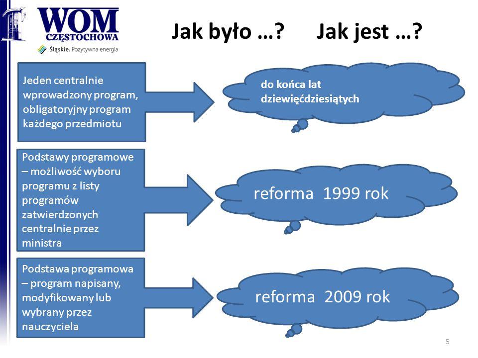 Jak było … Jak jest … reforma 1999 rok reforma 2009 rok