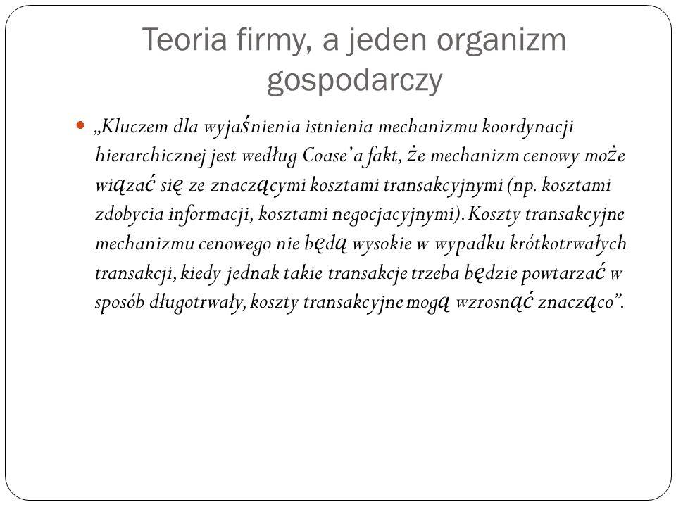 Teoria firmy, a jeden organizm gospodarczy
