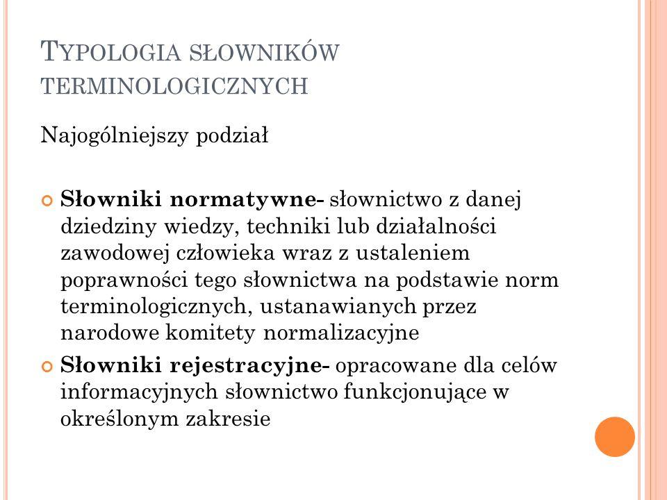 Typologia słowników terminologicznych